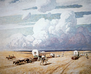 Wagon Train Framed Prints - Covered Wagons Heading West Framed Print by Newell Convers Wyeth