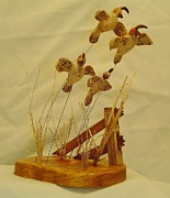 Wood Carving Sculpture Prints - Covey of Quails  Print by Russell Ellingsworth