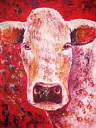 Red Pastels Metal Prints - Cow Metal Print by Anastasis  Anastasi