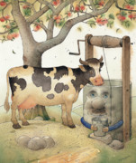 Green Drawings Posters - Cow and Well Poster by Kestutis Kasparavicius