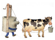 Water Drawings Prints - Cow and Well02 Print by Kestutis Kasparavicius