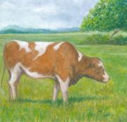 Cow Pastels Posters - Cow at Pasture Poster by Robert Casilla