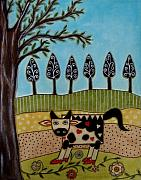 Modern Folk Art Paintings - Cow Bell by Rain Ririn