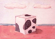 White Moon Studio Framed Prints - Cow Cube in Sunset Framed Print by Kazumi Whitemoon