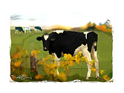Cow Mixed Media Prints - Cow Folk Print by Bob Salo
