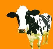 Cow Prints - Cow in orange world Print by Peter Oconor