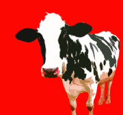 Cow Posters - Cow in red world Poster by Peter Oconor