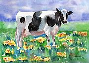 Milk Painting Posters - Cow In The Meadow Poster by Arline Wagner