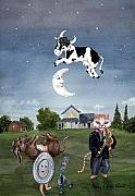 Nursery Rhyme Art - Cow Jumped Over The Moon by Sherry Holder Hunt