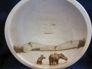 Alaska Moose Pyrography - Cow Moose with her calf in a pond by Adam Owen