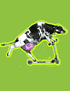 One Animal Digital Art Posters - Cow On Push Scooter Poster by New Vision Technologies Inc