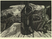 Wine Bottle Prints Drawings - Cow Skull Still Life by Tyler Anderson