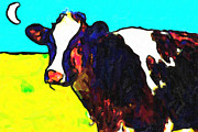 Pasture Digital Art Posters - Cow Under Moon Poster by Wingsdomain Art and Photography