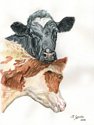 Cowgirls Paintings - Cow with heart by Jana Goode