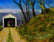 Covered Bridge Painting Metal Prints - Cowboy and Covered Bridge Metal Print by Stan Hamilton