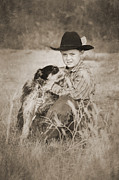 Little Boy Digital Art Framed Prints - Cowboy and Dog Framed Print by Cindy Singleton