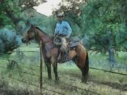 Cowboy  Drawings Metal Prints - Cowboy and Horse Metal Print by Murphy Elliott