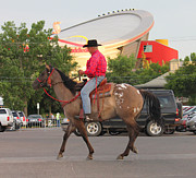 Calgary Stampede 2011 Prints - Cowboy and Saddledome Print by Donna Munro