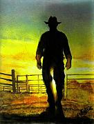 Rodeo Pastels Posters - Cowboy at Sunset Poster by Karen Cortese