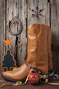 Cowboy Colors Framed Prints - Cowboy boots and Christmas ornaments Framed Print by Garry Gay