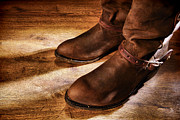 Spurs Prints - Cowboy Boots on Saloon Floor Print by Olivier Le Queinec