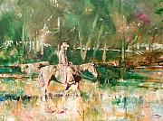 Ranchers Paintings - Cowboy Checking The Cattle by Kip Decker