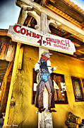 Funny Signs Prints - Cowboy Church Print by Cheryl Young