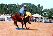 Bull Riding Prints - Cowboy Conundrum Print by Tom Roderick