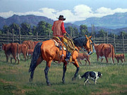 Cattle Posters - Cowboy Crew Poster by Randy Follis