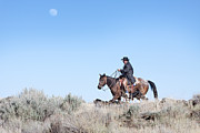 Cowboy Life Framed Prints - Cowboy Desert Moon Framed Print by Cindy Singleton