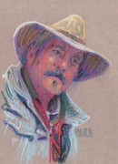 Cowboy Pastels Posters - Cowboy Poster by Donald Maier