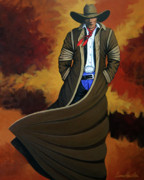 Contemporary Cowgirl Paintings - Cowboy Dust by Lance Headlee