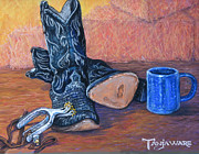 Western Western Art Pastels Framed Prints - Cowboy Essentials Framed Print by Tanja Ware