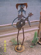 Western Art Sculptures - Cowboy Guitar by JP Giarde