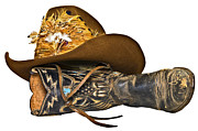 Susan Leggett Posters - Cowboy Hat and Boot Poster by Susan Leggett