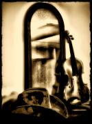 Cowboy Hat And Fiddle Print by Bill Cannon