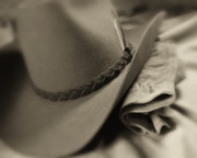 Clothes Clothing Prints - Cowboy Hat and Gloves Print by Tom Mc Nemar