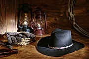Barn Art - Cowboy Hat and Tools by Olivier Le Queinec