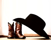 Cowboy Digital Art Framed Prints - Cowboy hat leaning on small boots Framed Print by Mark Duffy
