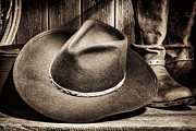 Hat Framed Prints - Cowboy Hat on Floor Framed Print by Olivier Le Queinec