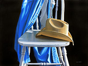 Kitchen Chair Paintings - Cowboy Hat on White Chair by Nance Danforth