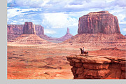 Cowboy In Monument Valley Print by Kantor