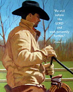 Ranch Pastels Posters - Cowboy in Pastel with Scripture Verse Poster by Joyce Geleynse