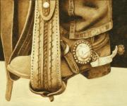 Leather Pyrography - Cowboy in Stirrup by Cate McCauley