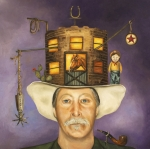 Mustache Painting Prints - Cowboy Karl Print by Leah Saulnier The Painting Maniac