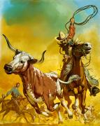 Pioneers Painting Posters - Cowboy lassoing cattle  Poster by Angus McBride