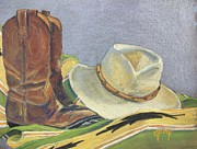 Leather Pastels Prints - Cowboy Life Print by Judy Pimperl