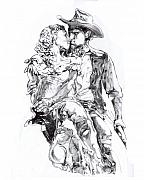 Cowboy Drawing Originals - Cowboy by Mike Massengale