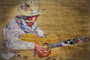 Strumming Prints - Cowboy Poet Print by Joan Carroll