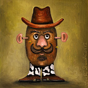 Mustache Framed Prints - Cowboy Potato Head Framed Print by Leah Saulnier The Painting Maniac